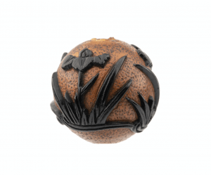 An Antique 19th Century Japanese Overlay Carved Ojime Bead
