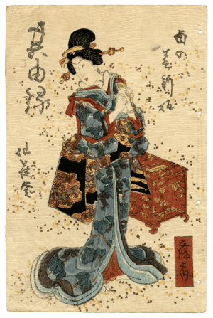 A 19th Century Japanese Meiji Era Wood Block Print Of A Geisha