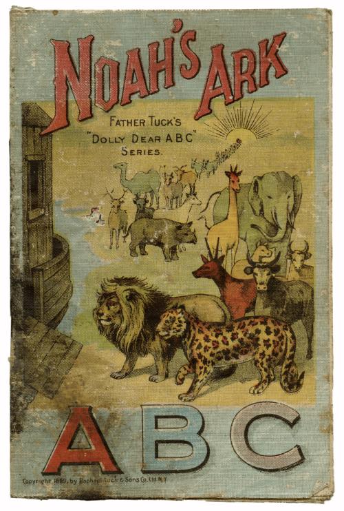 1899 Antique Childrens Book Mounted Linen Noah's Ark ABC McLoughlin Bros