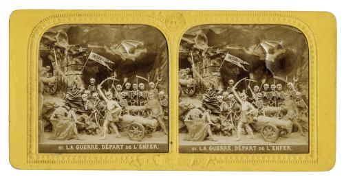 """An Antique French Lantern Card Of The Devil """"La Guerre, Depart De L'enfer"""""""
