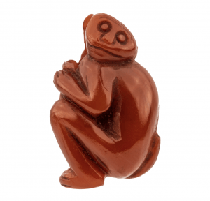 An Agate Carnelian Antique Ojime Bead Of A Monkey