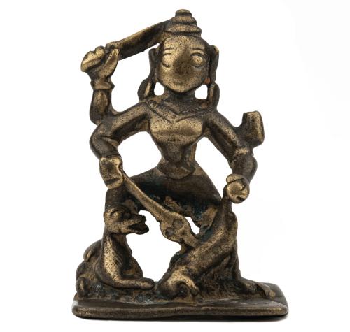 An Indian Copper Alloy Durga Mahishasuramardini Shrine 16-17th Century