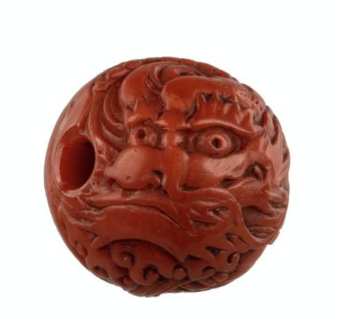 A Japanese Edo Era Coral Ojime Dragon Bead