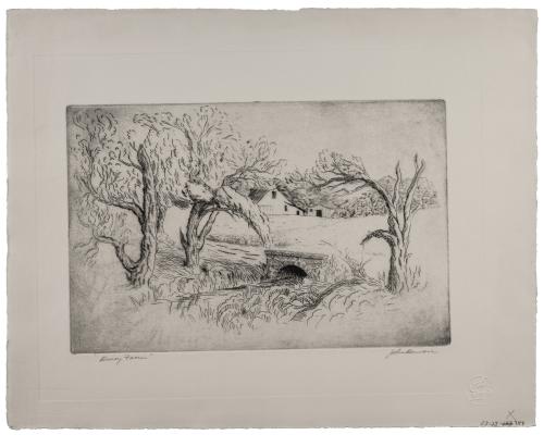 "A John Bowen Vintage Signed Intaglio Etching Print ""Dairy Farm"""