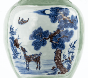A 19th Century Chinese Celadon Blue and Iron Red Porcelain Deer Vase