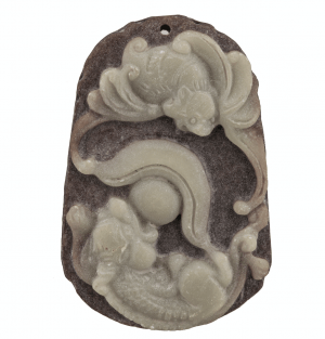 A Vintage Stone Carved Bats & Dragons Decorated Chinese Pendant