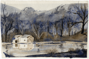 A Fall Landscape Watercolor Painting By George Schwartz