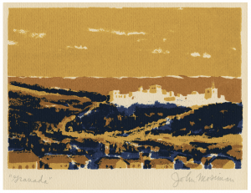 "A Vintage John Mosiman Double Sided Landscape Serigraph ""Granada"" & Grand Canyon"