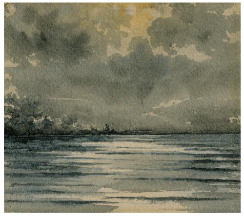 E.B. Clarke 2 Broken Reflections Antique Watercolor
