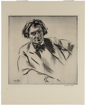 Walter Tittle Drypoint Etching Portrait Of James McBey