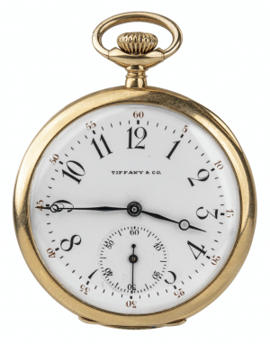An Antique 18K Gold Swiss Made Tiffany & Co Open Faced Pocket Watch