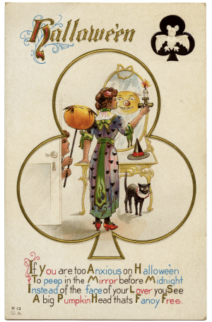 A Vintage Halloween Card Pumpkin In Mirror