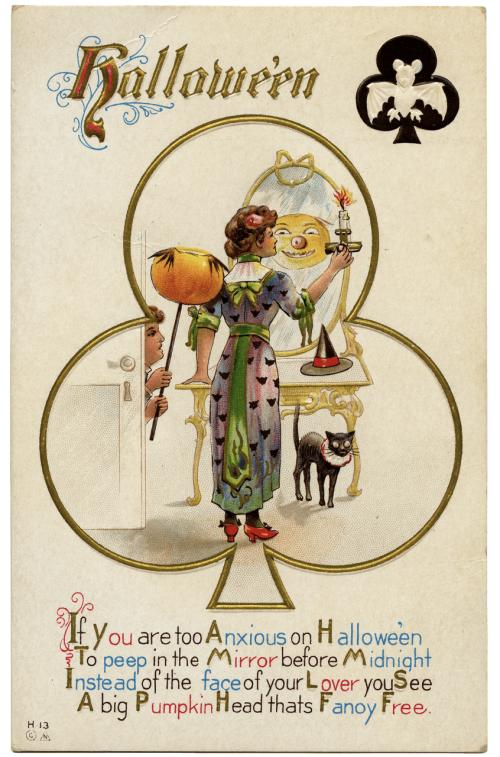 A Vintage Halloween Card Pumpkin In Mirror
