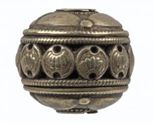 A Meiji/ Edo Era Japanese Silvered Ojime Chrysanthemum Bead