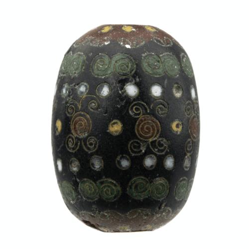 A 19th Century Japanese Ebony Ground Cloisonné Ojime Bead