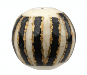 An Antique Japanese Lacquered Gilt Decorated Pottery Ojime Bead