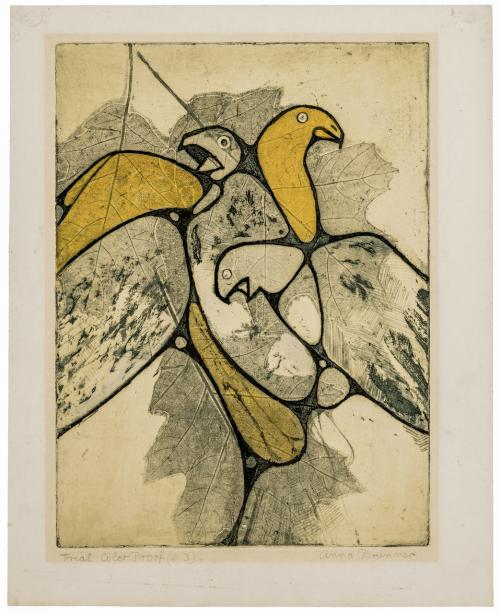 A Vintage Lithograph Print Of Birds Signed Anna Brunner