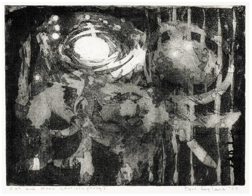 "A Vintage Intaglio Print ""Cat & Moon"" 1963 Signed Paul England"
