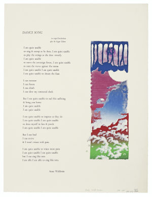"A Vintage Serigraph of  ""Poem Dance Song"" By Anne Waldman"