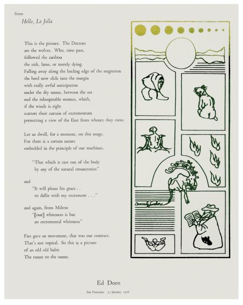 """A Vintage Ed Dorn Poem """"Hello, La Jolla"""" Serigraph San Francisco 1976"""