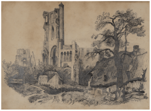 A 19th Century Antique English Castle Ruins Sketch Drawing
