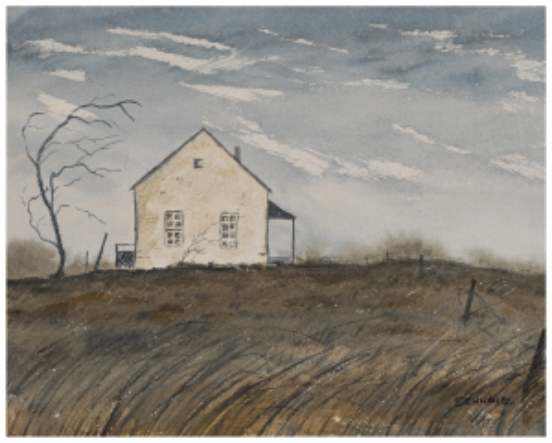 A Vintage Modern American Landscape Watercolor Rural Scene Signed Schwartz