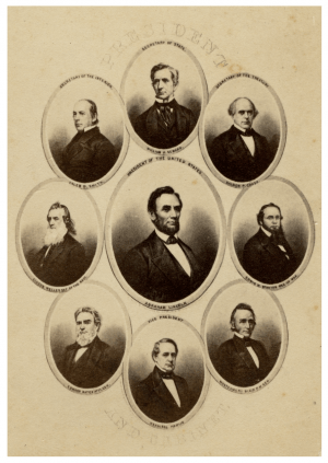A 19th Century President Abraham Lincoln & Cabinet Photo Card