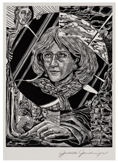 "A Vintage Intaglio Print Engraving Signed Judith Jaidinger ""Self Portrait"""