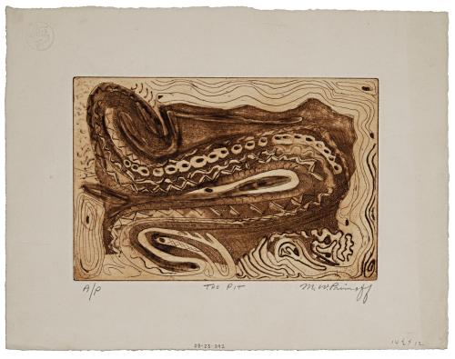 "A Vintage Intaglio Print Signed M.W. Primoff ""The Pitt"""