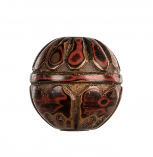 A Lacquer Carved Japanese Meiji Era Ojime Antique Bead