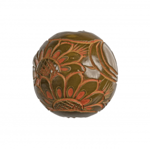 An Antique Japanese Lacquered Floral Decorated Ojime Bead