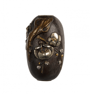 A Signed Meiji Era Mixed Metal Floral Decorated Japanese Ojime Bead