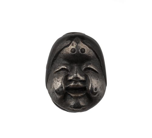 A Meiji Era Mixed Metal Japanese Noh Mask Ojime Bead