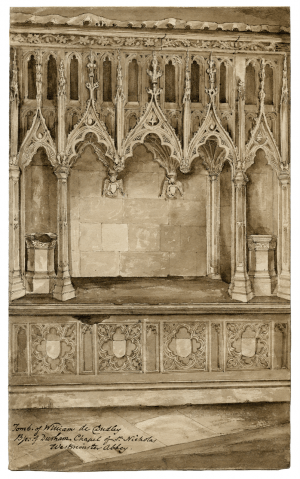 An 18th-19th Century British School Antique Ink Drawing Tomb Of William De Dudley Westminster