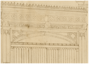 A 18th-19th C. English Architectural Drawing Of A Cathedral Valles Habundabunt