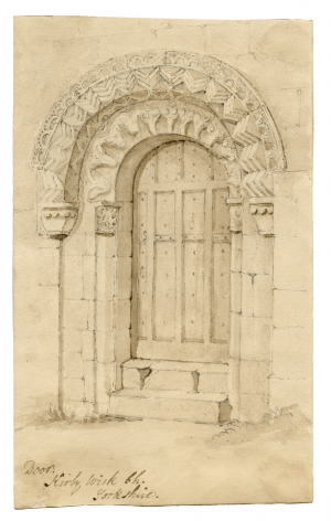 """An 18th-19th Century British Architectural Drawing Of Kirby Wisk Yorkshire """"Door"""""""