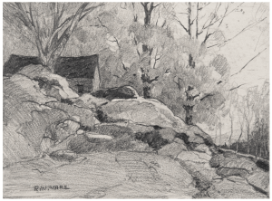 A Vintage Pencil Drawing Cottage Signed R.W. Ware