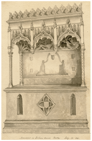 Antique British Architectural Drawing Monument In Bisham Church Berkshire July 22,1841