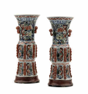 A Pair of Antique Chinese Wucai Porcelain Gu Form Vases Wanli Ming Imperial Seals 1573-1630