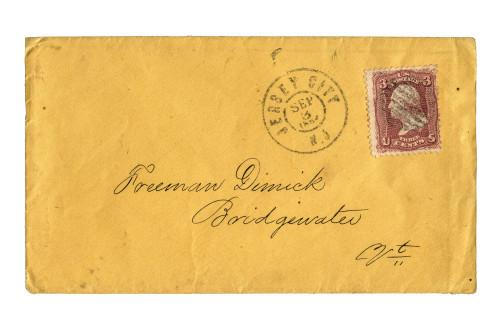 U.S. postal cover 1864 Jersey City Scott 65 cover