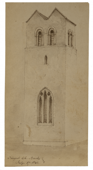 An Antique British School Drawing Fingest Church England July 1842