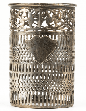 An Antique Sterling Silver Reticulated Overlay Insert Pen Holder