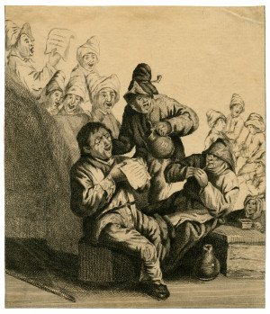 An Antique 18th/19th Century French Etching Of Merry Men