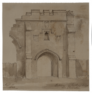 An Antique 19th Century English Watercolor Painting Of Lanthony Abbey Gate 1843