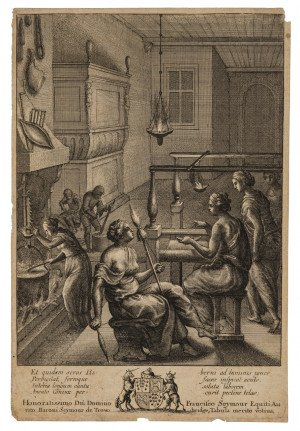 "A 17th Century Antique Etching By ""Women At Work"" By Wenceslaus Hollar 1607-1677"
