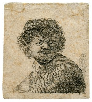 """Self Portrait In A Cap Laughing"" Rembrandt Van Rijin Antique Etching"