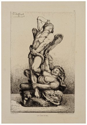 """A 19th Century French Etching By Francois Chifflart """"Les Liens Du Mal""""  A. Cadart"""