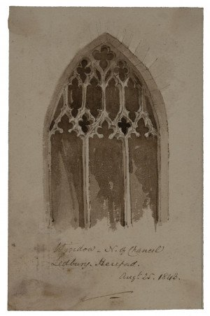 An Antique British Watercolor & Ink Painting Of A Church Window Ledbury Hereford 1843