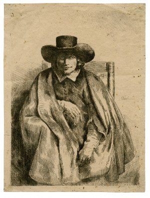 An Antique Etching Clemens De Johghe, Printseller By Rembrandt