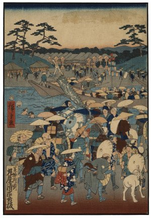 "A Meiji Era Antique Utagawa Hiroshige Woodblock Print ""Shiba Daijingu Shrine"""